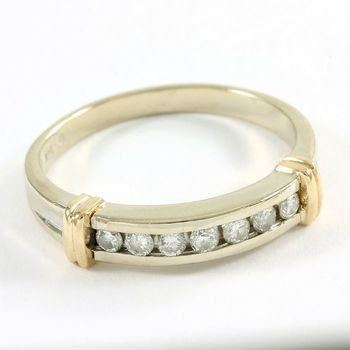Solid 14kt White Gold & Yellow Gold, 0.20ctw Genuine Diamond Ring Size 6.75