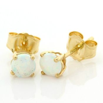 Solid 14kt Yellow Gold 0.45ctw Opal Stud Earrings
