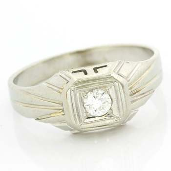 Solid 18 kt. White Gold, 0.20ctw Genuine Diamond Ring Size 9.5