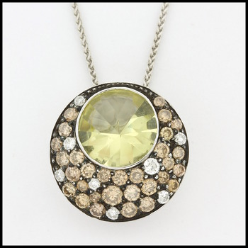 Solid 18k White Gold, 0.51ctw Genuine Diamond & 1.56ctw Genuine Lemon Quartz & 0.65ctw Genuine Smoky Quartz Pendant Necklace