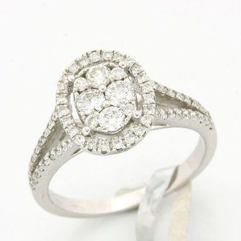 Solid 18k White Gold, 0.79ctw Genuine Diamond Ring Size 7