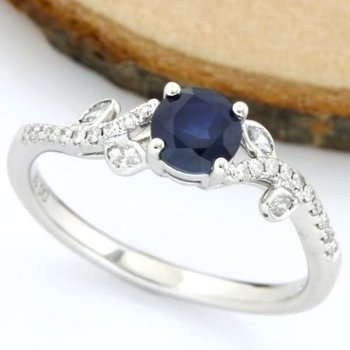 Solid 18k White Gold, 0.86ctw Genuine Diamonds & Sapphire Ring sz 7