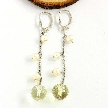 Solid 18k White Gold, 14.50ctw Prasiolite & Perls Earrings