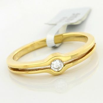 Solid 18k Yellow Gold, 0.12ctw Genuine Diamond Ring Size 7.5