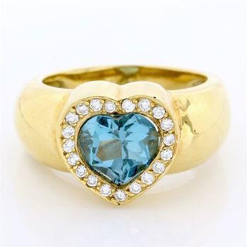 Solid 18k Yellow Gold, 0.27ctw Genuine Diamond & 4.15ctw London Blue Topaz Ring Size 7.5