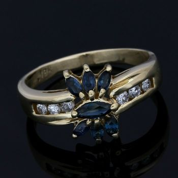 Solid 18k Yellow Gold, 0.30ctw Genuine Diamond & 0.75ctw Sapphire Ring Size 10.25