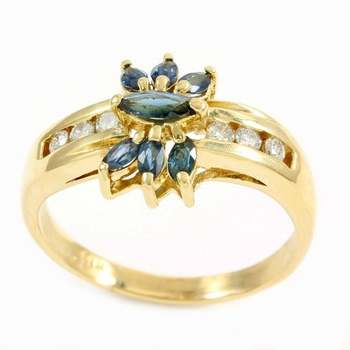 Solid 18k Yellow Gold, 0.30ctw Genuine Diamond & 0.75ctw Sapphire Ring Size 10.25