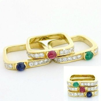 Solid 18k Yellow Gold, 0.45ctw Genuine Ruby, Emerald & Sapphire Set of Three Rings sz 4.25
