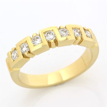 Solid 18k Yellow Gold, 0.47ctw Genuine Diamond Ring Size 7