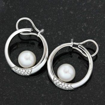 Solid 18kt/750 White Gold 0.50ct Diamond & 8mm Japanese Akoya Pearl Earrings; 23mm in Length