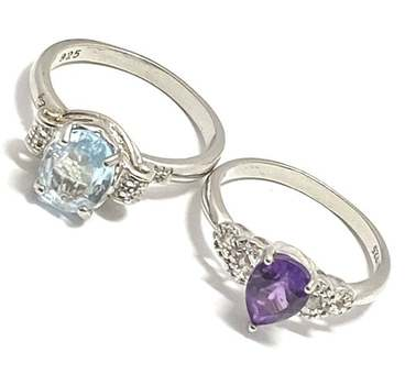 Solid .925 Sterling Silver, 0.02ctw Diamond & 3.0ctw Blue Topaz & 1.0ctw Amethyst Lot of 2 Rings Size 8