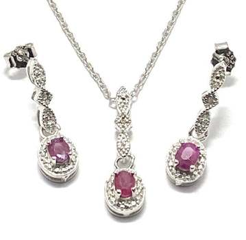 Solid .925 Sterling Silver, 0.02ctw Genuine Diamond & 0.30ctw Ruby Set
