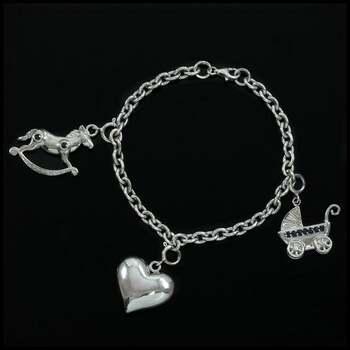 Solid .925 Sterling Silver, 0.08ctw Genuine Diamond & 0.27ctw Blue Sapphire Charm Bracelet
