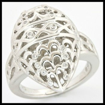 Solid .925 Sterling Silver, 0.09ctw Cubic Zirconia Ring size 7