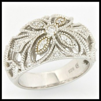 Solid .925 Sterling Silver, 0.25crw Cubic Zirconia Antique Style Ring sz 7