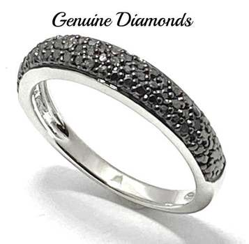 Solid .925 Sterling Silver, 0.25ctw Genuine Black Diamond Ring Size 6