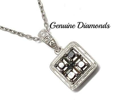 Solid .925 Sterling Silver, 0.25ctw Genuine Black & White Diamond Necklace