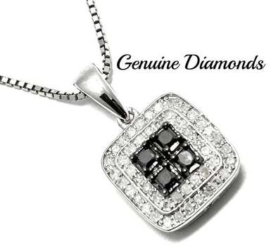 Solid .925 Sterling Silver, 0.35ctw Genuine Black & White Diamond Necklace