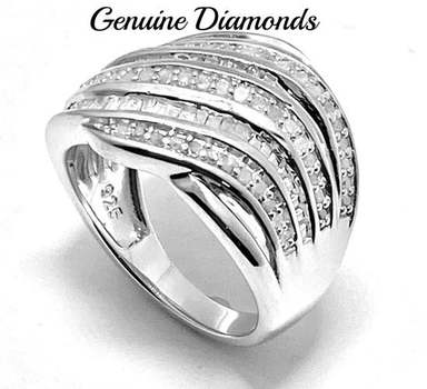 Solid .925 Sterling Silver, 0.50ctw Genuine Diamond Ring Size 6