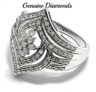 Solid .925 Sterling Silver, 0.61ctw Genuine Diamond Ring Size 8