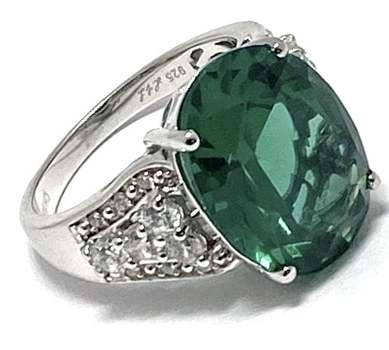 Solid .925 Sterling Silver, 11x16mm Emerald & 0.50ctw White Diamonique Ring Size 7