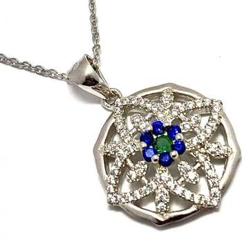 Solid .925 Sterling Silver, 1.25ctw Emerald & Blue&White Topaz Necklace