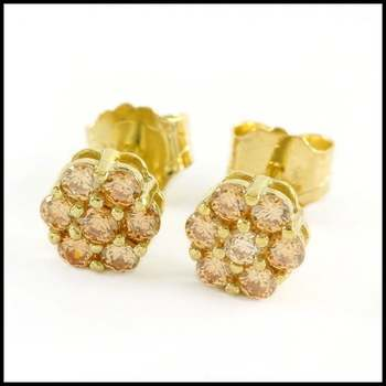 Solid .925 Sterling Silver & 14k Yellow Gold Plated, 0.28ctw AAA Grade Cubic CZ's Stud Earrings
