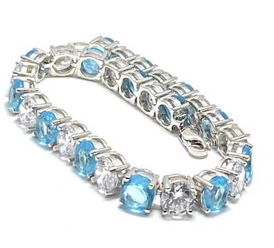 Solid .925 Sterling Silver, 15.50ctw Blue Topaz & 16.0ctw White Topaz Bracelet