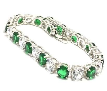 Solid .925 Sterling Silver, 15.50ctw Emerald & & 16.0ctw White Topaz Bracelet