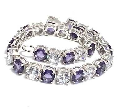 Solid .925 Sterling Silver, 15.75ctw Amethyst & 15.50ctw White Topaz Bracelet