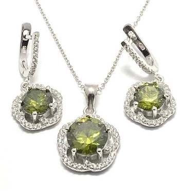 Solid .925 Sterling Silver, 17.2ctw Peridot & White Topaz Set