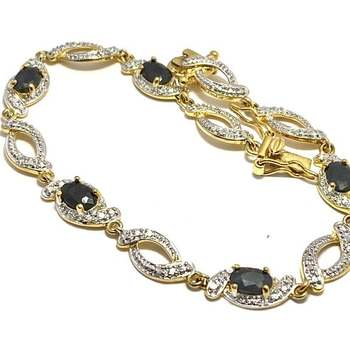 Solid .925 Sterling Silver, 2.0ctw Dark Sapphire Bracelet