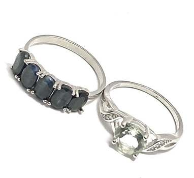 Solid .925 Sterling Silver, 2.0ctw Green Amethyst & 2.50ctw Black Onyx Lot of 2 Rings Size 7.5; 8