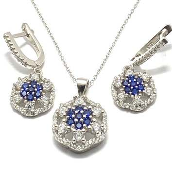 Solid .925 Sterling Silver, 2.50ctw Blue Sapphire & White Sapphire Set