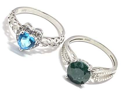 Solid .925 Sterling Silver, 2.50ctw Emerald & 1.0ctw Blue Topaz & 0.12ctw White Diamonique Lot of 2 Rings Size 8