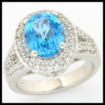 Solid .925 Sterling Silver, 2.96ctw Blue & White Topaz Ring size 7