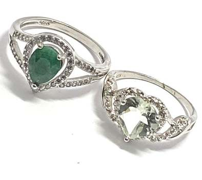Solid .925 Sterling Silver, 3.0ctw Green Amethyst & 1.0ctw Emerald & 0.15ctw White Diamonique Lot of 2 Rings Size 7; 8