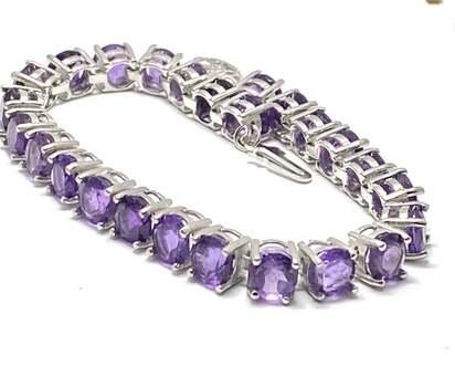 Solid .925 Sterling Silver, 34.0ctw Amethyst Bracelet