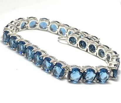 Solid .925 Sterling Silver, 35.75ctw London Blue Topaz Bracelet