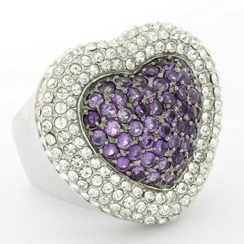 Solid .925 Sterling Silver, 4.25ctw Amethyst & White Topaz Heart Shape Ring sz 7.25