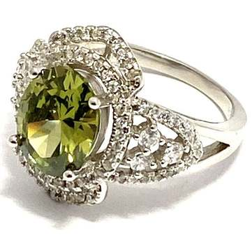 Solid .925 Sterling Silver, 5.75ctw Peridot & White Topaz Ring Size 6.5