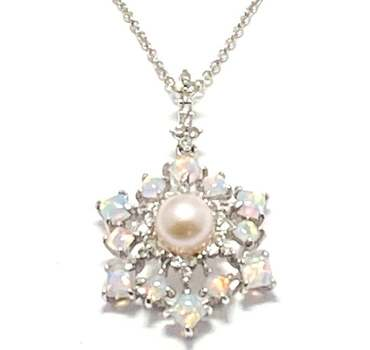 Solid .925 Sterling Silver, 5mm Pearl & 1.0ctw Opal Necklace
