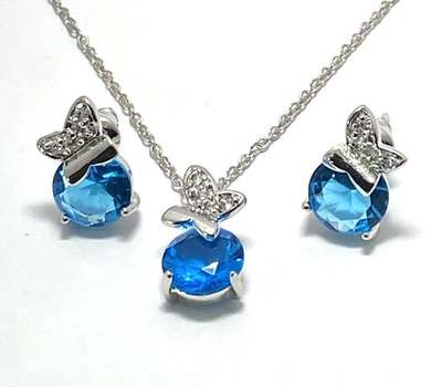 Solid .925 Sterling Silver, 7.50ctw Blue Topaz Set of Necklace & Earrings