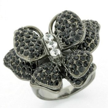 Solid .925 Sterling Silver & Black Rhodium, 3.50ctw (AAA Grade) Black & White CZ's Butterfly Ring sz 7
