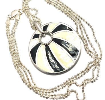 Solid .925 Sterling Silver & White Gold Plated, 0.20ctw AAA Grade CZ's & Black&White Enamel Necklace