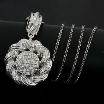 Solid .925 Sterling Silver & White Gold Plated, 0.24ctw AAA Grade CZ's Necklace