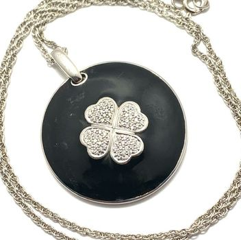 Solid .925 Sterling Silver & White Gold Plated, 0.72ctw AAA Grade CZ's & Black Enamel Necklace