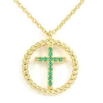 Solid .925 Sterling Silver & Yellow Gold Overlay, 0.10ctw Emerald Necklace