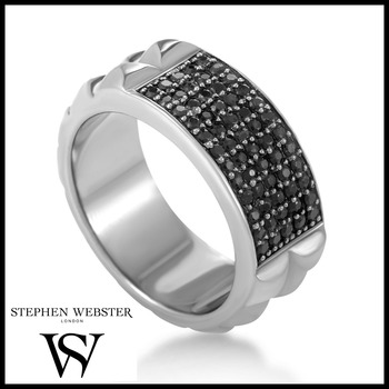 Stephen Webster Alchemy in the UK Sterling Silver Genuine Black Sapphire Ring Size 10