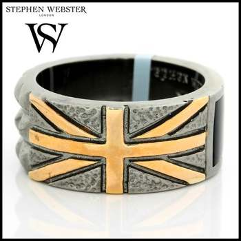 Stephen Webster Alchemy in the UK Yellow Gold Plated Silver and Onyx Band Ring Size 9.75